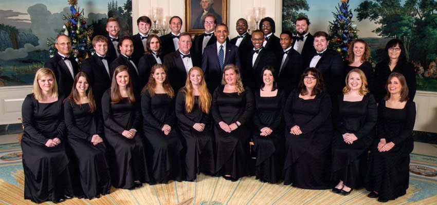 The University of Mississippi Concert Singers perform for President Barack Obama at the White House.