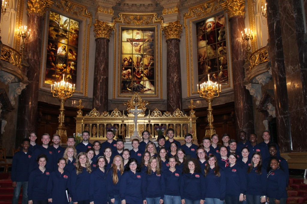Concert singers perform at the Berliner Dom on their 2014 European tour.